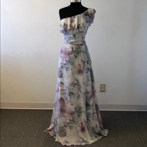 One shoulder grey and purple floral print